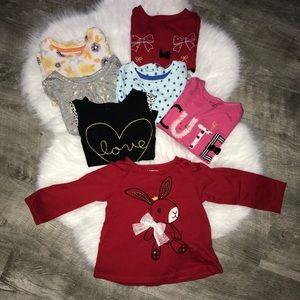 Bundle of 7 Baby Girl's long sleeve tops
